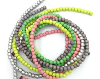 Beaded mix Green Pink Silver, 5 strands of 5 mm, wood beads, mixed beads, mix, wooden beads