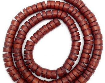 1 strand coconut beads, rusty brown, 7 mm, 1 XLStrang, 180 pieces, coconut Heishi, coconut slices, coco beads, natural beads, russt Pucalet