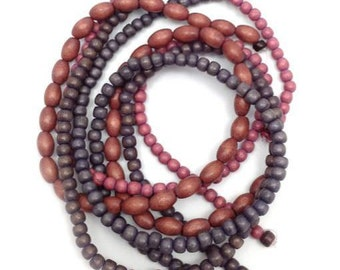 Beaded mix Berry, gray, 4 strands, 5-9mm, beads wood, Brown, gray, wooden beads, beads mix, beads round