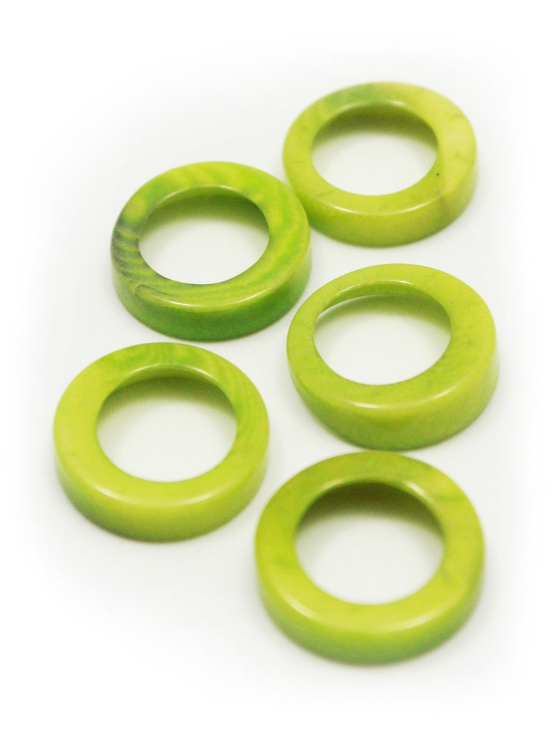 wide rings Tagua rings light green 15 mm 5 piece running hole ring beads round beads green rings tagua beads 15 mm beads tagua nut beads