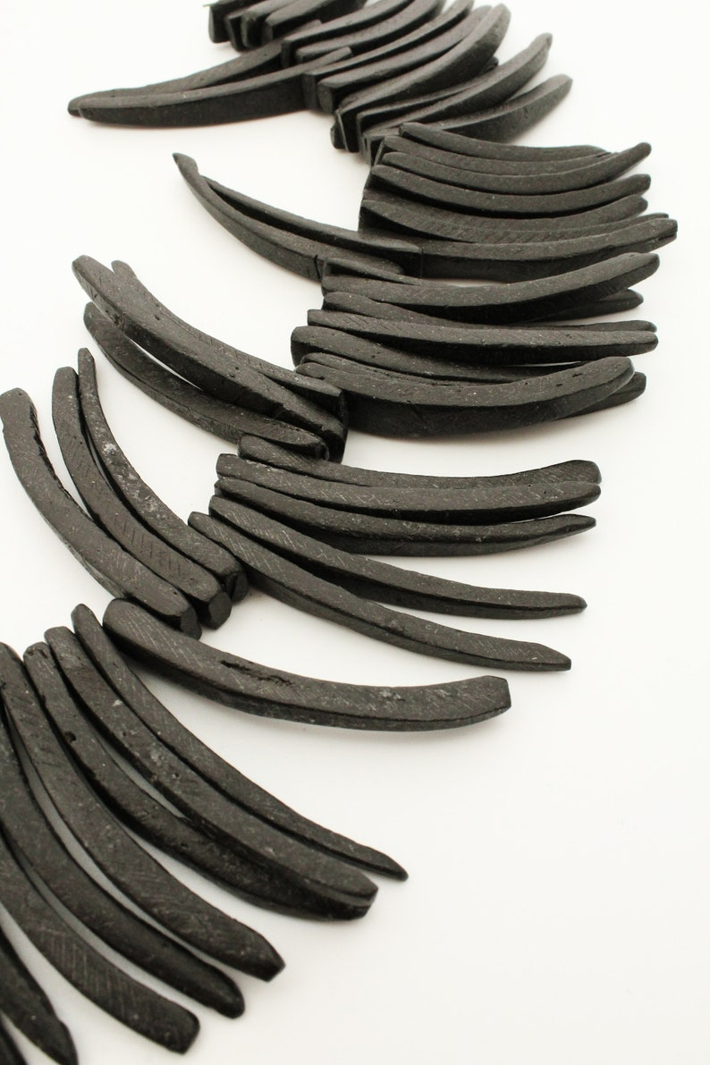 Coconut Sticks 50mm black 1 strand long coconut beads black long beads coco sticks coco tusk coco beads 50mm beads natural beads