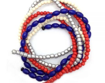 Beaded mix blue red silver, 4 strands, 5-9mm, mix beads, wood beads, wooden beads, oval, Pukalite