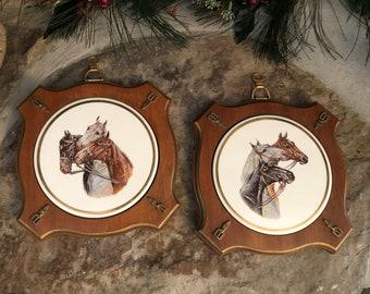 86be0ce9bb09 Vintage Sungott Art Studios Horse Plaques Western Decor Equestrian Wall Art