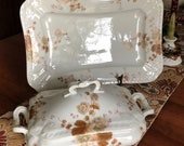 SALE Antique Farm House Charm Ironstone Large Serving Platter Covered Casserole Signed Leonard Vienna Transferware Floral Design Serving Set