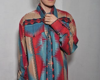 Latigo Geometric Aztec Shape Shifting long sleeve top // Large Made in the USA