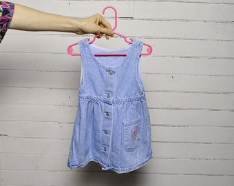 1bba1277ae5e VINTAGE LEE JEAN // perfect condition baby overall jean dress // 3T toddler  pocket denim // indigo light wash // tank top summer dress