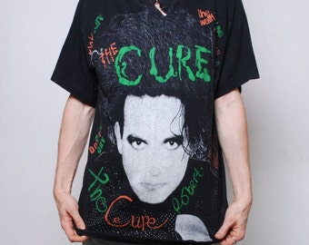 965d39f9aa2 VINTAGE truly RARE    1980 s The CURE    band tee shirt    large t shirt     vintage