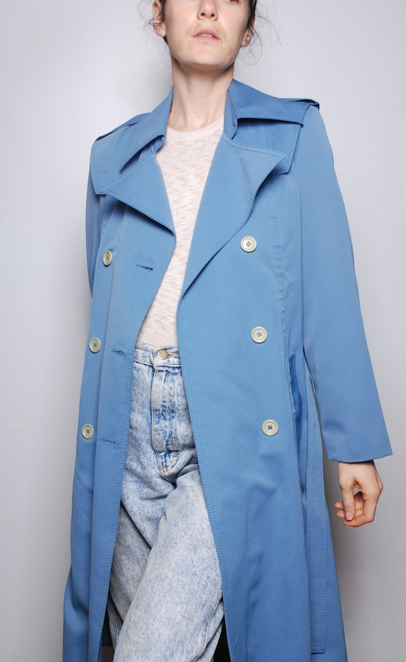 huge inventory select for latest shop best sellers VINTAGE unbranded blue trench coat // periwinkle peacoat // lightweight  rain jacket // layers // thin trenchcoat light weight outerwear