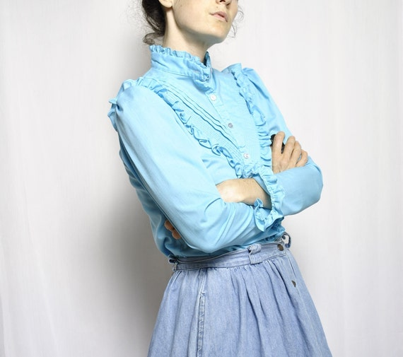 VINTAGE Parallel Lines // Baby Blue Ruffled Blouse