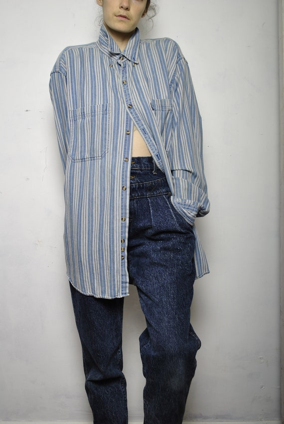 VINTAGE HuNT CLUB striped jean shirt extra large oversized baggy mens womens light indigo raw denim long sleeve femme LEVIS