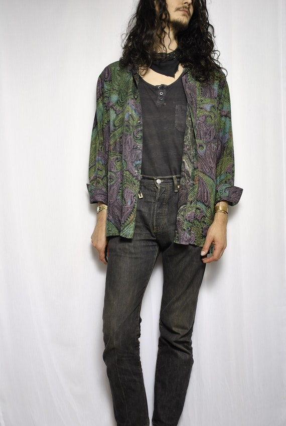 VINTAGE REPUTATION 80s psychedelic silk blouse / p