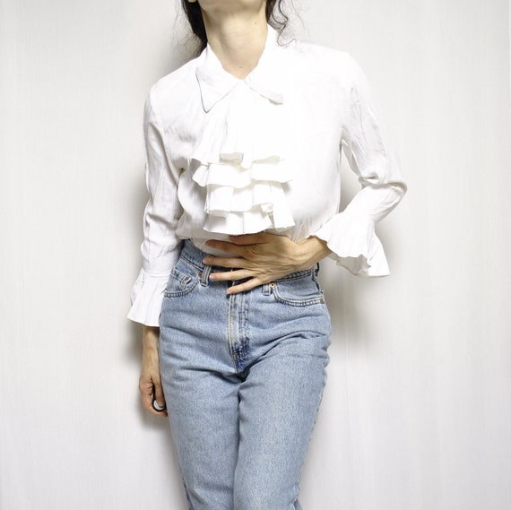 VINTAGE VIA MAX roufled white blouse removable col