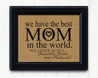 Mothers Day From DaughterMom Son FRAMED Burlap Print Mom Gift Birthday Unique Christmas