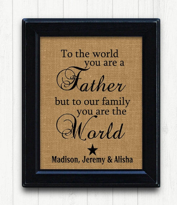 Fathers Day From Kids Father Gift Burlap Print DAD Birthday