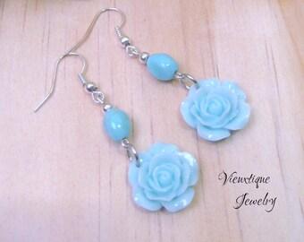 Rose Earrings, Floral Earrings, Pastel Earrings, Aqua Earrings, Floral Jewelry, Spring Jewelry, Summer Jewelry, Dangle Earrings