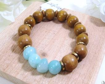 Natural Wood and Stone Bracelet, Boho Bracelet, Boho Jewelry, Stretch Bracelet, Chunky Bracelet, Wood Bracelet, Stone Bracelet