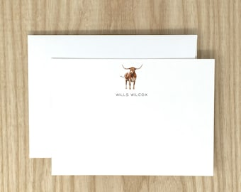 Personalized Stationery // Texas Longhorn // University of Texas // Note Cards // Gift // High Quality // 12 Note Cards // 12 Envelopes