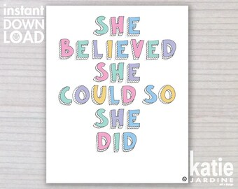 girls wall art - kids wall art - she believed she could - 8x10 print - 11x14 print - printable art - freehand text - girls rainbow
