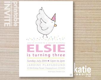 farm invitation - kids invitation  - chickens - printable invitation - chickens invitation - girls farm invite
