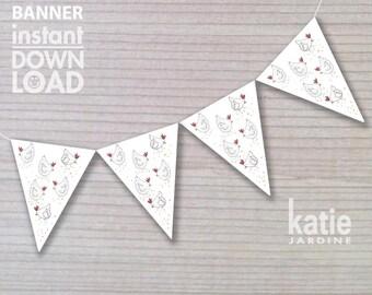 banner - birthday banner - kids party banner - farm banner - printable banner - chickens -