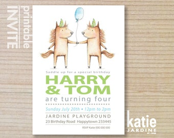 TWIN HORSE  party invitation - kids invitation  - printable invitation - kids party - pony - balloon - portrait - 5x7 - party hat & balloon