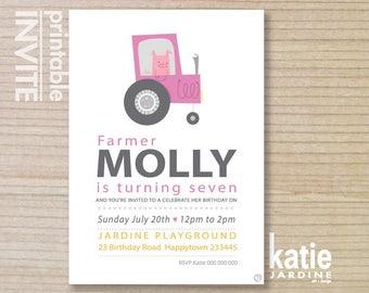kids invitation - girls farm invitation - childrens invitation - printable invitation - girls invitation - PIG & pink tractor -