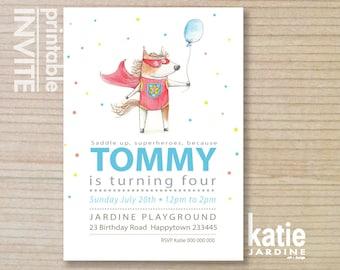 SUPER HORSE -  party invitation - kids invitation  - printable invitation - kids party - pony - balloon - portrait - 5x7 - superheros