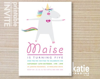 kids invitation - girls invitation  - unicorn invitation - unicorn invite - childrens invitation -  printable invitation - unicorn