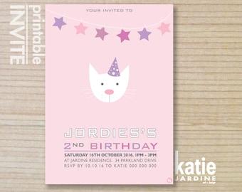 kids invitation  - printable invitation - girls invitation - cat invitation - cat party - girls invite - pussy cat - pink - aqua - white