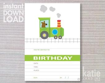 instant invitation - train invitation - boys invitation - Train - childrens invitation  - Train party - downloadable