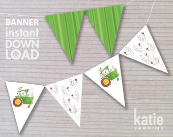 banner - birthday banner - kids party banner - farm banner - printable banner - green tractor - chickens - tractor