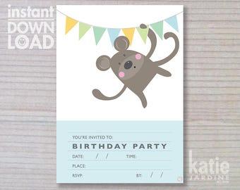 instant invitation -  boys invitation - monkey invitation - childrens invitation  - downloadable invite - monkey -white invite