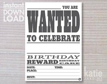 instant invitation -  boys invitation - wanted invitation - childrens invitation  - downloadable invite - white paper invite