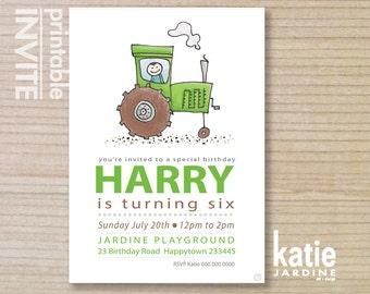GREEN tractor  - farm invitation - kids invitation - boys invitation - childrens invitation -  printable invitation - farm tractor
