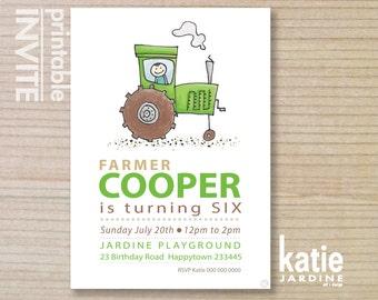 GREEN tractor  - kids invitation - boys invitation - childrens invitation -  printable invitation - farm tractor - LITTLE FARMER