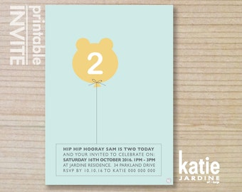 boys invitation - kids invitation  - printable invitation - bear balloon - aqua - yellow