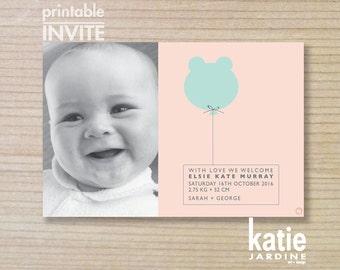 girls birth annoucement - printable birth annoucment - bear balloon - purple - pink - PHOTO