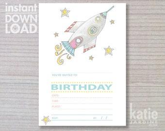instant invitation -  kids invitation - rocketship party - childrens invitation - space invitation -