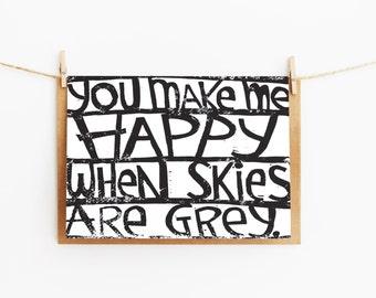 greeting card - you make me happy - gift card - linocut art - 106x145xmm
