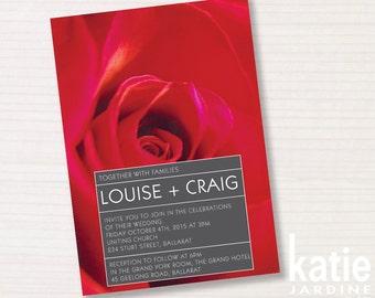 wedding invitation -  red rose - printable invitation - 5x7 - portrait - photography - forever