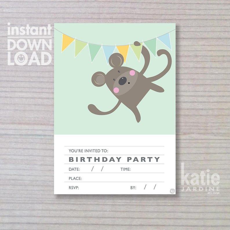 instant invitation   boys invitation  monkey invitation  image 0