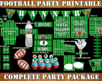 Printable Football Party- Football Birthday, Football Party Decorations, Printable Party- Tailgate Party Complete Party Package