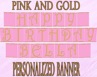 Printable Pink and Gold Party- Chevron Party- Pink and Gold Birthday, Pink and Gold Party Decorations, Party Banner, Chevron Birthday