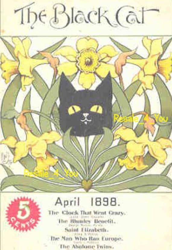 April 1898 DAFFODILS The Black Cat Magazine cover 8x10 Vintage animal Art print