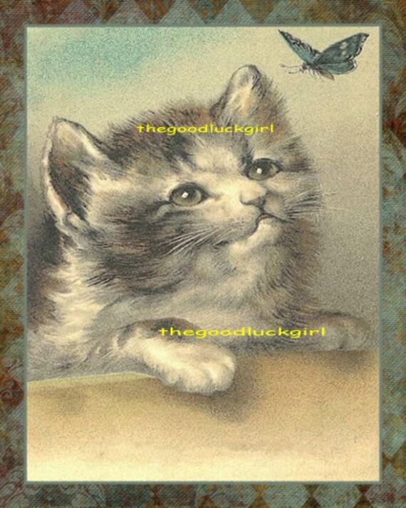 Vintage CAT BARBER SHOP 8X10 Postcard art reproduction print kitten picture