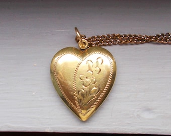 In Original Box Vintage Gold Filled Heart Locket With Tiny Diamond Retro, Vintage 1930s-1980s