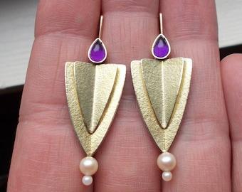 18k vermeil genuine amethyst and pearl modern Art Deco earrings