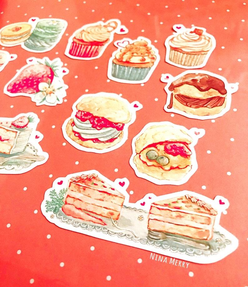 Favorite Sweets Vinyl Stickers dessert desserts sweet food foodie cake biscuit cupcake strawberry cookie cream puff cute kawaii colorful