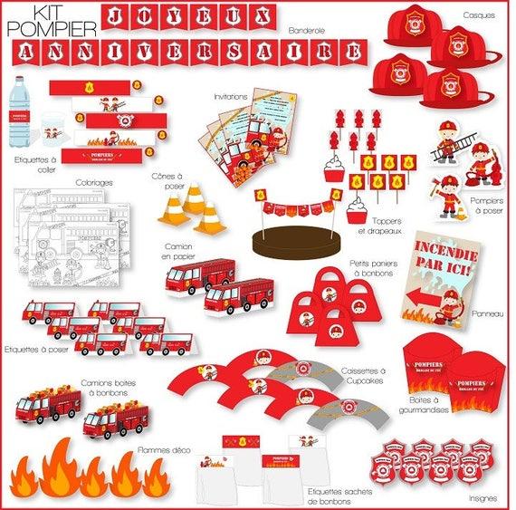 Decoration Anniversaire Pompiers A Imprimer Printable Etsy