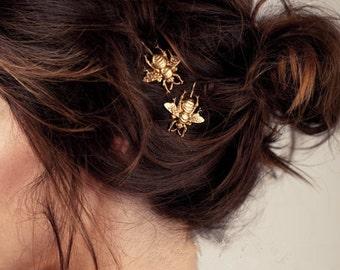 Bee hair Pin(Set of 2)-Bumblebee Hair pins-Vintage Hair Pin-Bee Bobby Pin-Bee hair accessories-Gold Bee Hair Pin-Gold Hair Pin-Boho Hair Pin